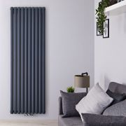Radiateur Design Vertical Raccordement Central Anthracite Vitality Caldae 178cm x 59cm x 7,8cm 2169 Watts