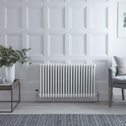 Radiateur Horizontal Style Fonte Blanc Windsor 60cm x 101cm x 13,3cm 2088 Watts