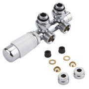 Robinet Radiateur Thermostatique Équerre d'Angle 3/4'' Mâle Blanc & Chrome & Adaptateurs cuivre 12mm