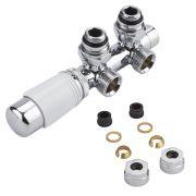 Robinet Radiateur Thermostatique Équerre d'Angle 3/4'' Mâle Blanc & Chrome & Adaptateurs cuivre 14mm