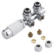 Robinet Radiateur Thermostatique Équerre d'Angle 3/4'' Mâle Blanc & Chrome & Adaptateurs multicouche 16mm