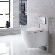 Pack WC Suspendu Exton - Bâti-support 82x40x15/20cm & Plaque de Déclenchement au Choix