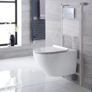 Pack WC Suspendu Sans Bride Otterton - Bâti-support115x50x18cm & Plaque de Déclenchement