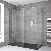 Douche italienne d'angle avec receveur de douche à effet texturé et paroi de retour – Multiples tailles disponibles – Portland