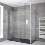 Douche italienne d'angle avec receveur de douche à effet texturé – Multiples tailles disponibles – Sera