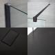Paroi de douche 100x195cm Profilé noir & Receveur Anthracite 170x80cm Nox