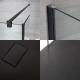 Paroi de douche 100x195cm Profilé noir Retour & Receveur 170x80cm Anthracite Nox