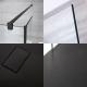 Paroi de Douche 140cm & 2 Retours 25cm à Profilés Noirs - Bras Stabilisateurs & Receveur Anthracite 140 x 80cm Nox