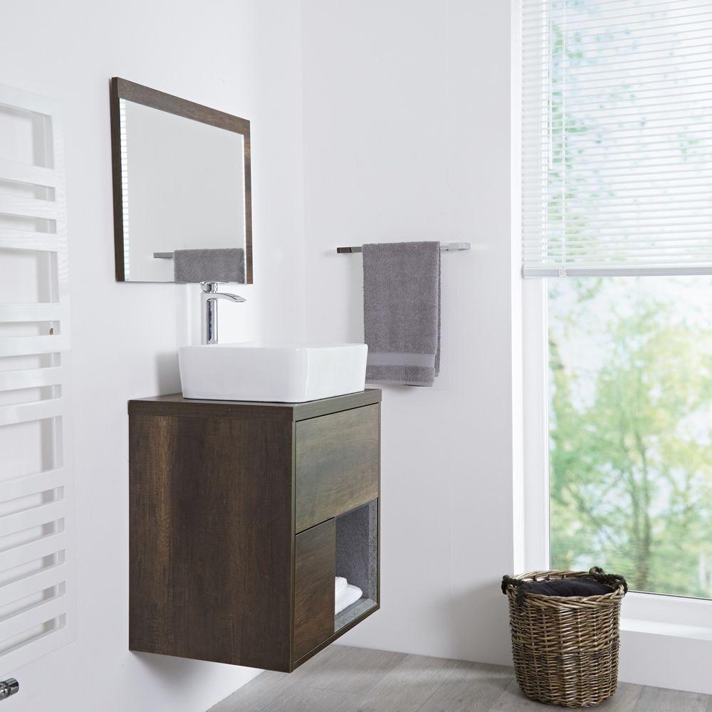 Meuble salle de bain chêne foncé avec vasque à poser - 60cm - 2 tiroirs &  niche