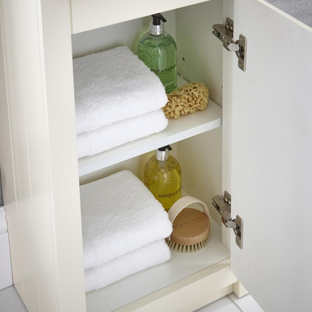 Meuble rangement salle de bain 81.5x40x30cm Charlton Ivoire