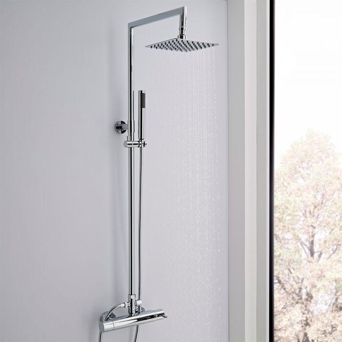 Colonne de douche thermostatique avec pommeau, douchette et rampe – 2 fonctions – Chromé – Como