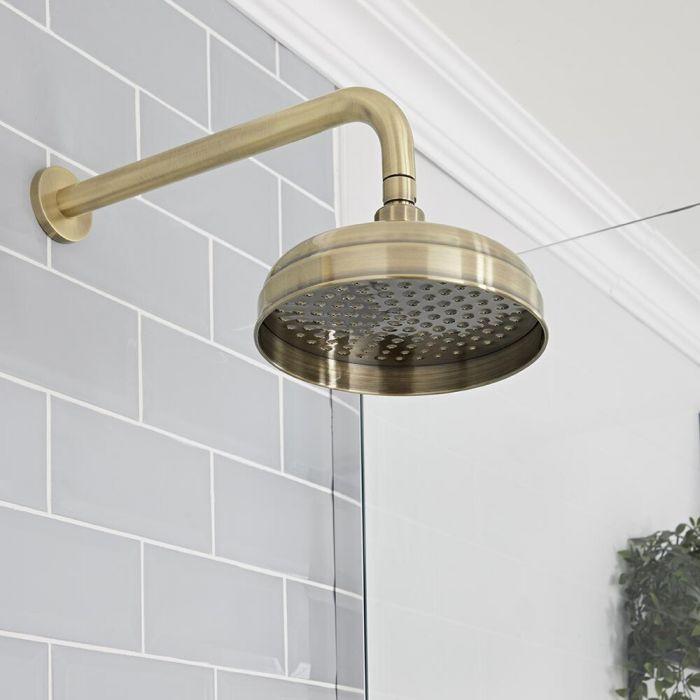Pommeau de douche Ø 20 cm avec bras mural – Or brossé - Elizabeth