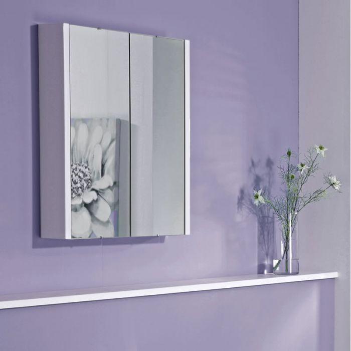 Armoire de toilette à miroir suspendu – Blanc – 65 cm x 60 cm - Geo