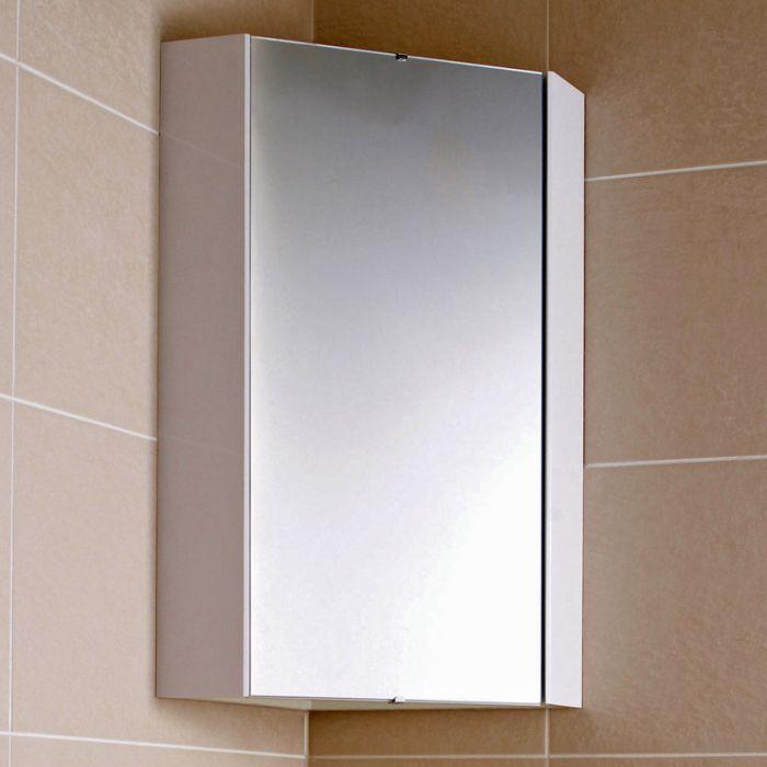 Armoire de toilette d'angle avec miroir – Blanc – 65 cm x 45,9 cm - Cluo