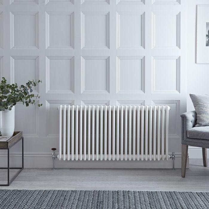 Radiateur style fonte horizontal – Blanc – 50 cm x 127,2 cm – Triple rangs – Stelrad Regal par Hudson Reed