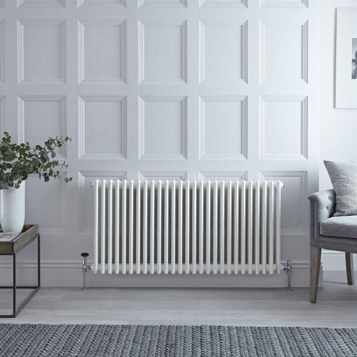Radiateur style fonte horizontal – Blanc – 75 cm x 127,2 cm – Quatre rangs – Stelrad Regal par Hudson Reed
