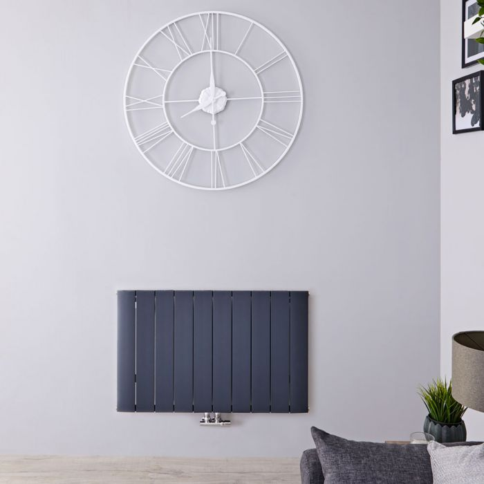Radiateur Design Horizontal Raccordement Central Aluminium Anthracite Aurora 60cm x 94,5cm x 4,6cm 1153 Watts