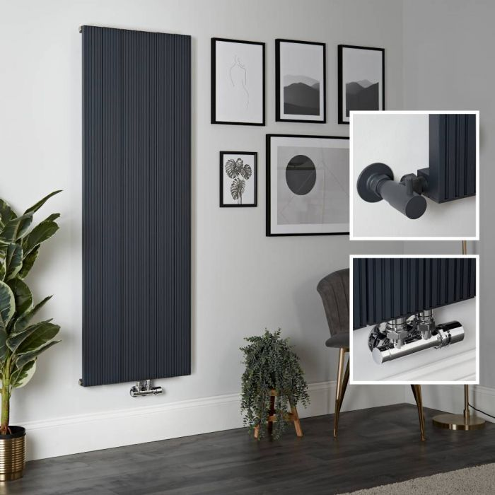 Radiateur design vertical en aluminium – 160 cm x 56,5 cm – Anthracite - Lex