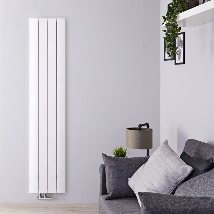 Radiateur Design Vertical Raccordement Central Aluminium Blanc Aurora 180cm x 37,5cm x 4,5cm 1384 Watts