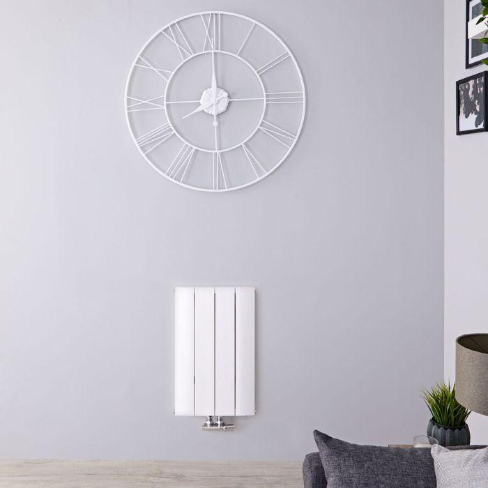 Radiateur Design Horizontal Raccordement Central Aluminium Blanc Aurora 60cm x 37,5cm x 4,6cm 461 Watts