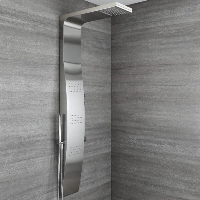 Colonne de douche thermostatique avec pommeau, douchette et buses hydromassantes – Chromé - Select
