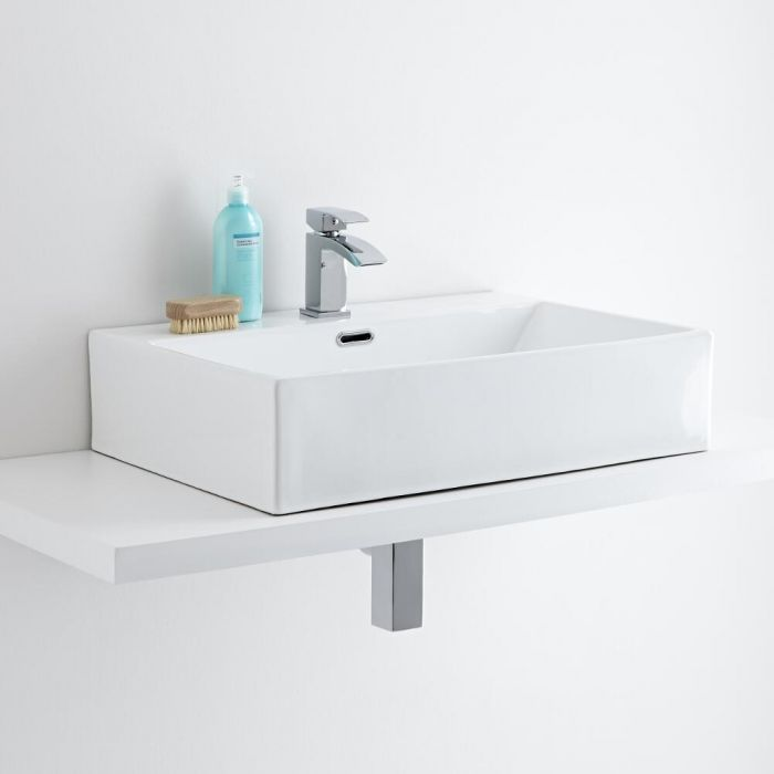 Vasque à poser rectangulaire 60 x 42cm Sandford & Mitigeur Wick