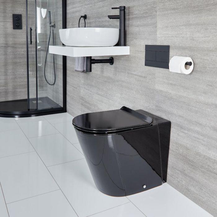 WC à poser rond avec abattant à fermeture douce – Noir - Nox