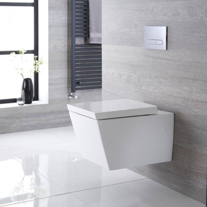 Cuvette WC suspendu moderne – Blanc - Halwell