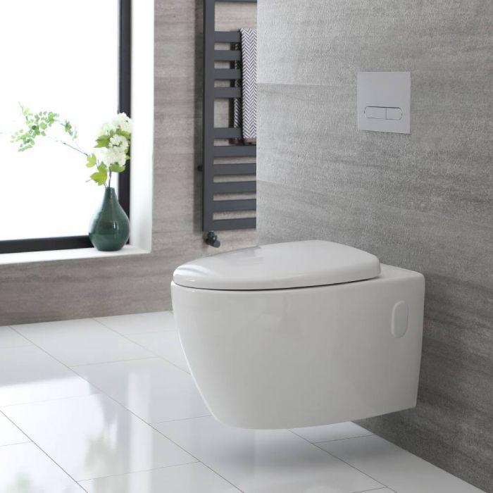 Cuvette WC suspendu moderne – Sans bride – Blanc - Kenton