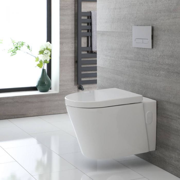 Cuvette WC suspendu moderne - Sans bride – Blanc - Covelly