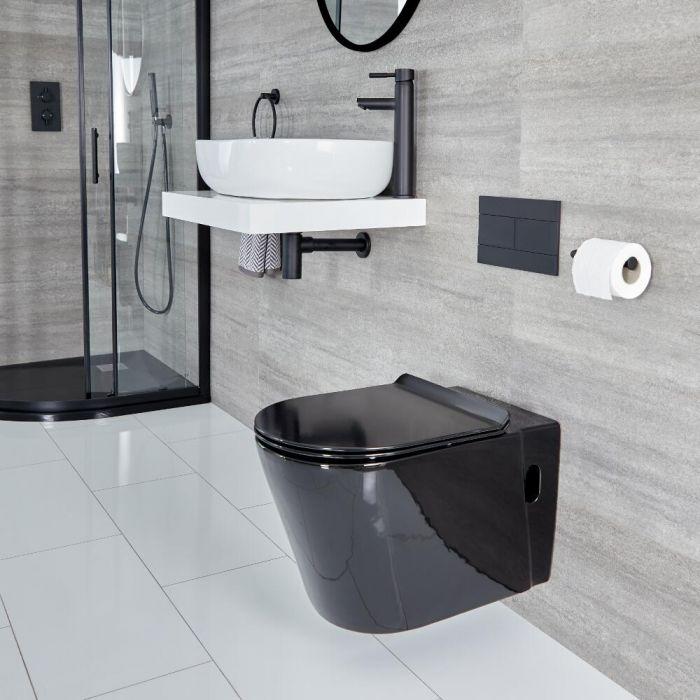 WC suspendu rond avec abattant à fermeture douce – Noir - Nox