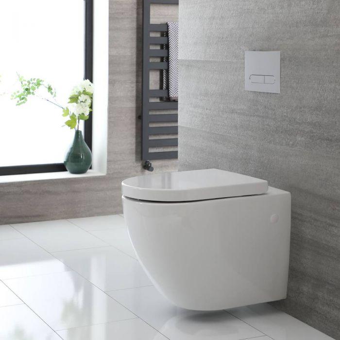 Cuvette WC suspendu moderne – Sans bride – Blanc - Ashbury