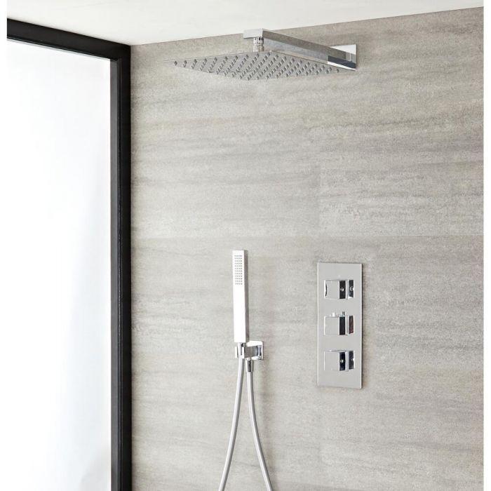 Kit de douche thermostatique avec mitigeur, pommeau et douchette – 2 fonctions – Chromé - Kubix