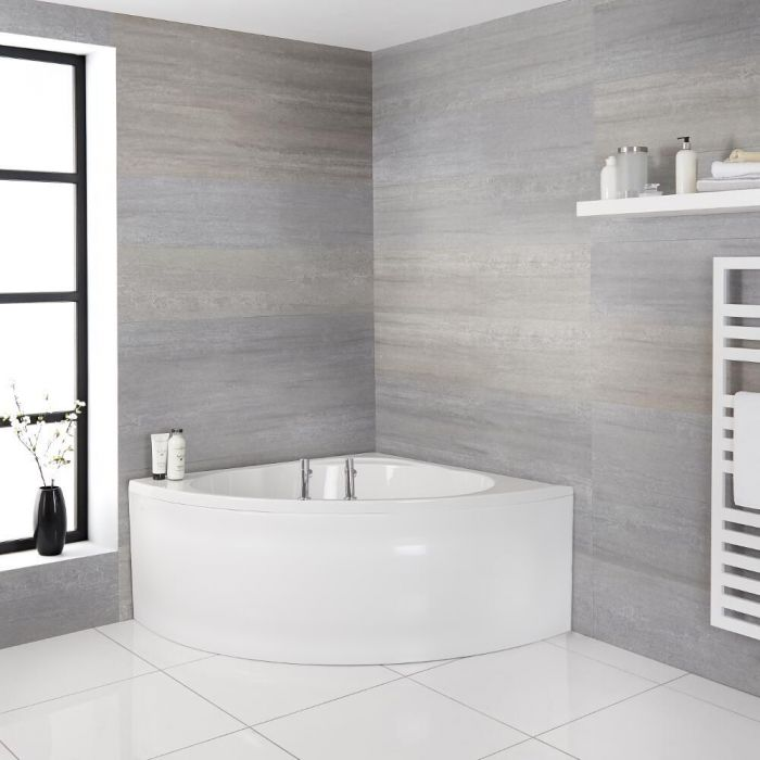 Baignoire d'angle réversible - Blanc – 135 cm x 135 cm – Belstone