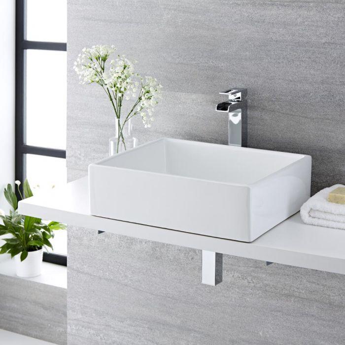 Vasque à poser rectangulaire - 49 x 39 cm - Haldon & Mitigeur haut - Parade