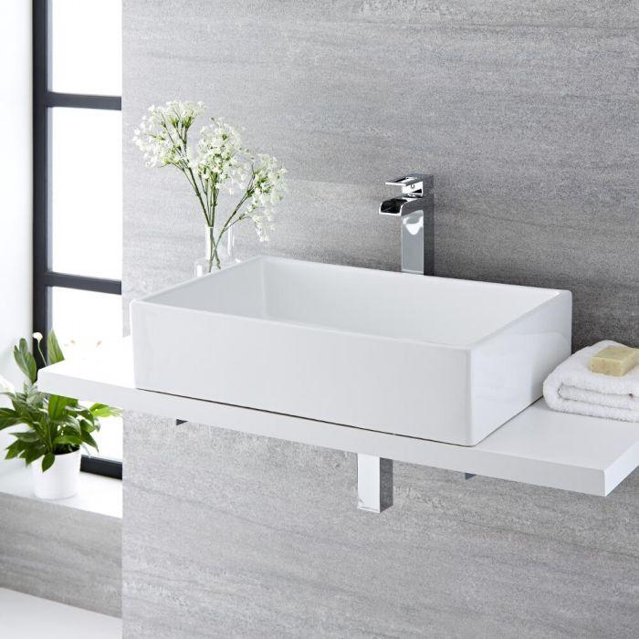 Vasque à poser rectangulaire - 61 x 40 cm - Haldon & Mitigeur haut - Parade