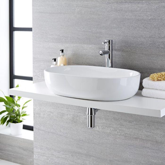 Vasque  à poser ovale - 59 x 41 cm - Otterton & Mitigeur haut - Como