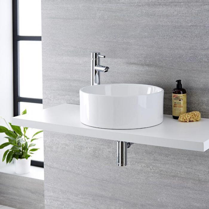 Vasque à poser ronde - Ø 40cm - Covelly & Mitigeur haut - Como