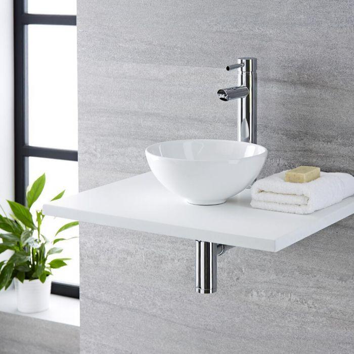 Vasque  à poser ronde  - Ø 28cm - Ashbury & Mitigeur haut - Como