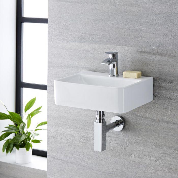 Lave-main suspendu moderne – Blanc – 40 cm x 29,5 cm (1 trou) - Exton