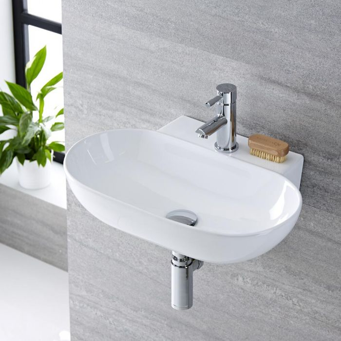 Vasque suspendue moderne – Rond – Blanc – 55,5 cm x 39,5 cm (1 trou) - Otterton