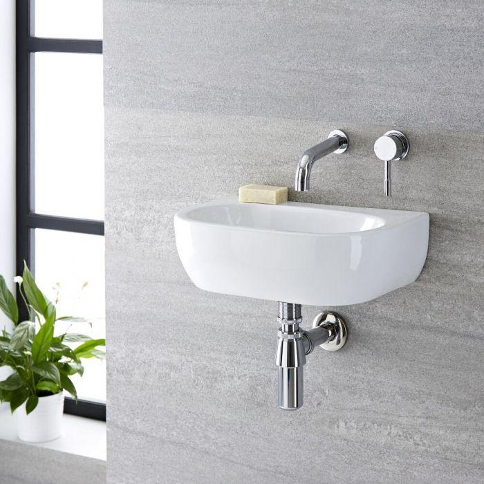 Lave-main suspendu moderne – Ovale – Blanc – 42 cm x 29 cm (sans trou) - Langtree