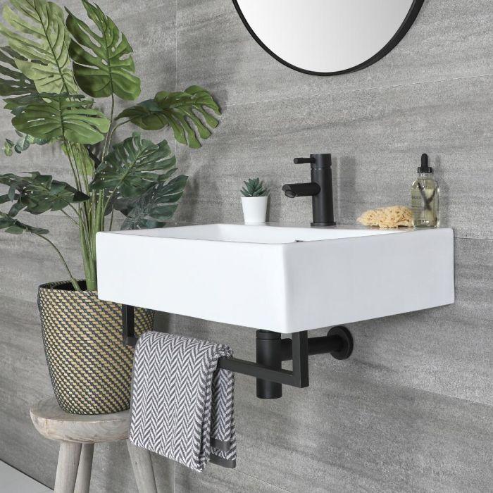 Vasque suspendue rectangulaire – Blanc – 60 cm x 42 cm – Porte-serviettes noir – Sandford