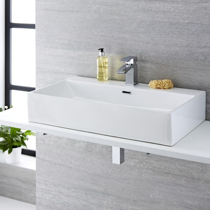 Vasque à poser rectangulaire – 75 cm x 42 cm - Sandford & Mitigeur lavabo – Wick