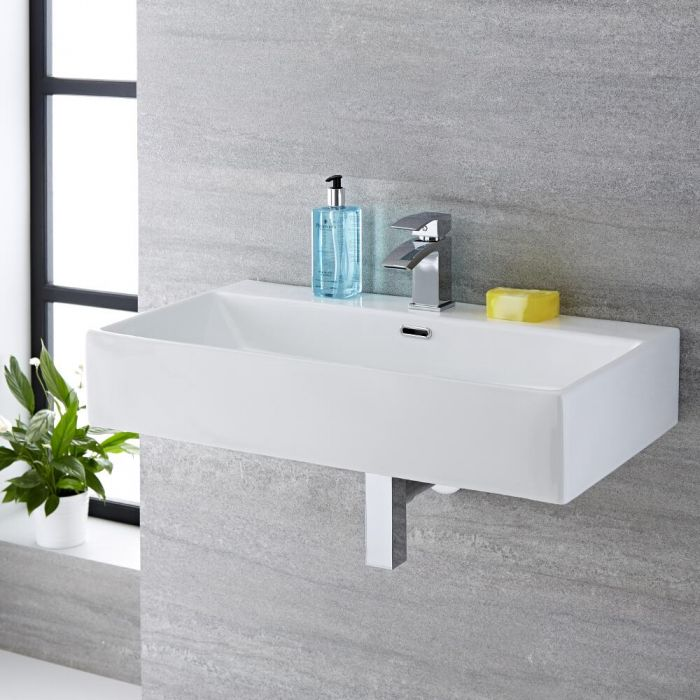 Vasque suspendue moderne – Blanc – 75 cm x 42 cm (1 trou) - Sandford