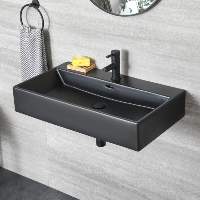 Lavabo suspendu rectangulaire – 75 cm x 42 cm – Noir - Nox