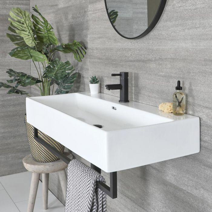 Vasque suspendue rectangulaire – Blanc – 101 cm x 42,5 cm – Porte-serviettes noir – Sandford