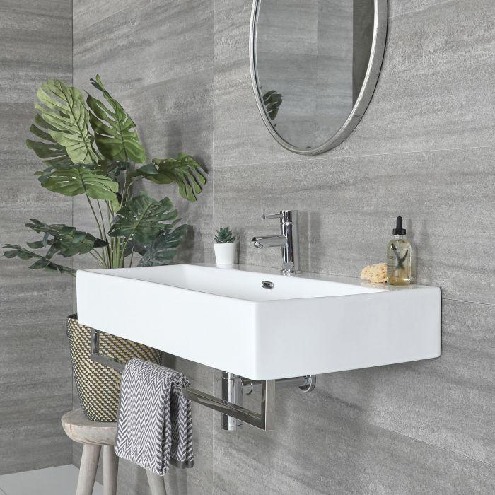 Vasque suspendue rectangulaire – Blanc – 101 cm x 42,5 cm – Porte-serviettes chromé – Sandford