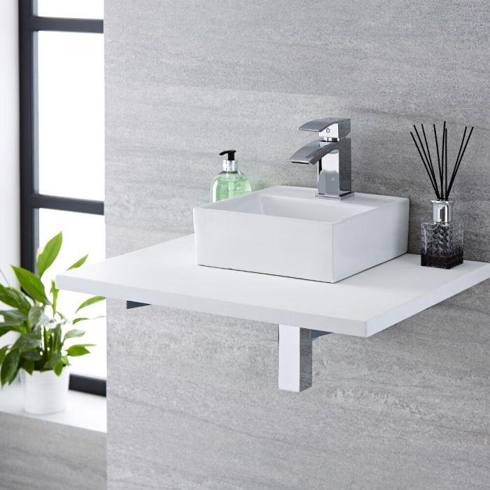 Vasque à poser - 28 x 28 cm - Halwell  & Mitigeur - Wick