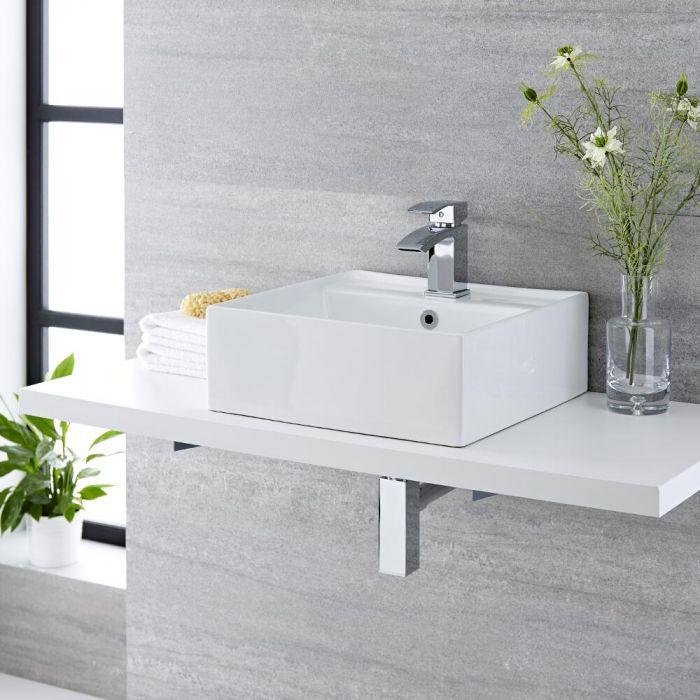 Vasque à poser - 41 x 41 cm - Halwell  & Mitigeur - Wick